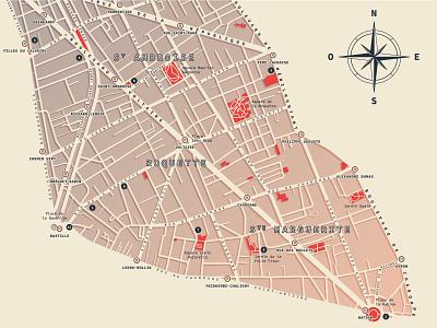 Paris - 11th arrondissement | Map design [2] vector paris minimal map design map illustration cartography