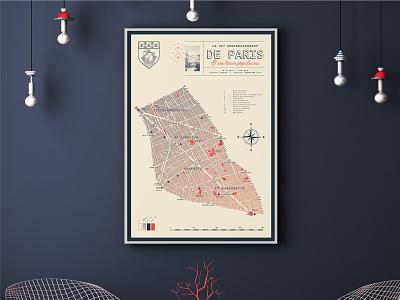 Paris - 11th arrondissement | Map design [3] poster mockup vector typography design paris minimal map design map illustration cartography