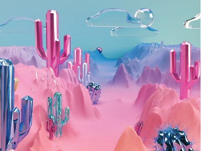 Surreal Landscapes in 3d uiux ui interface interaction graphics adobe visual art 3danimation 3d animation illustration branding logo adobedimension communication design cinema4d c4d