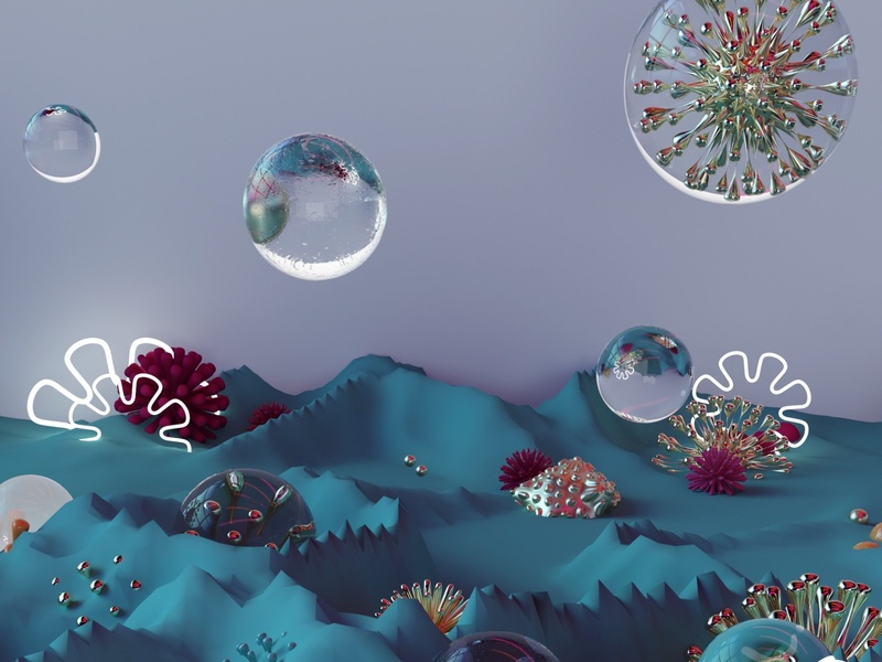 Bubbled Corals experiencedesign illustration visual design visual art digital design communication design cinema4d c4d blender3d blender animation adobe photoshop adobedimension adobe abstract 3danimation