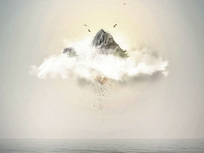 Neverland fantastic sunset clouds island artwork digital photoshop psd expo