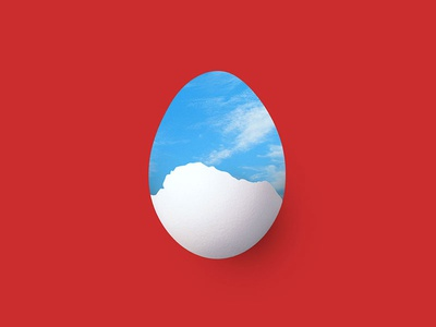 Growing Up In Neverland 2nd Concept art expo poster abstract fantasy dream red background clouds sky egg