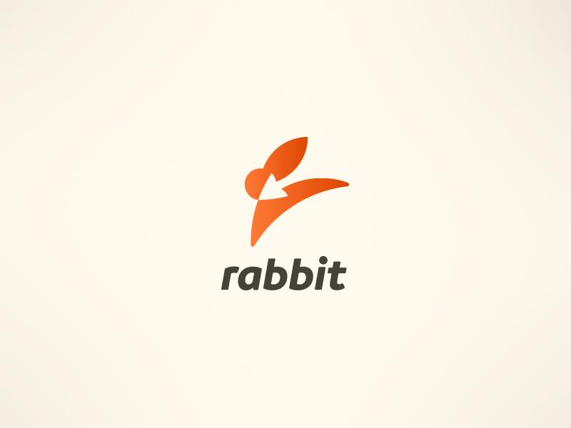 Rabbit jump fast orange logo branding brand target arrow bunny rabbit