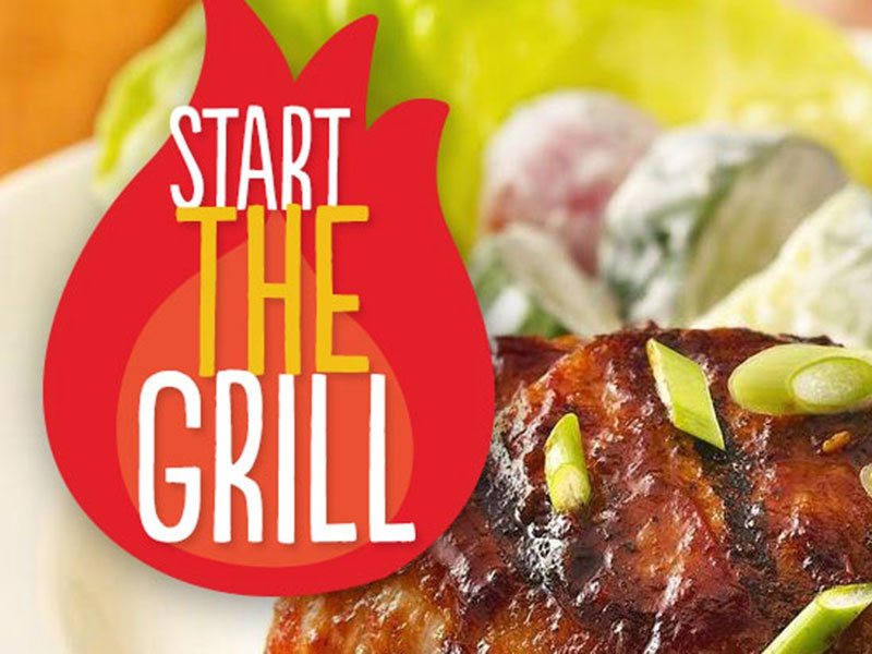 Start The Grill typography illustration grill food