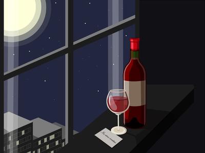 Night, wine, moon