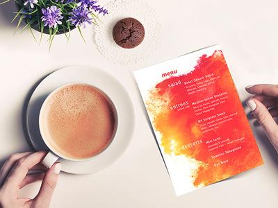 DDC Menu typography warm colors warm menu design print menu