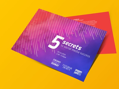 5 Secrets postcard postcard typography design typography pink red purple lines smoke print