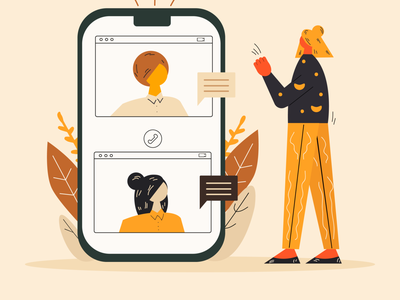 Video chatting concept. video chat app web design colorful girl illustration vector