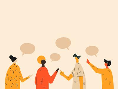 Talking concept. communication talking people design adobe illustrator colorful illustration vector
