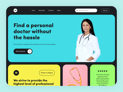 a: - clinic website cards woman blue doctor hero web clinic medicint typography design art ux ui