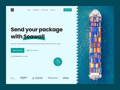 Seawall - Delivery Company Website sea shipping web hero delivery ux ui