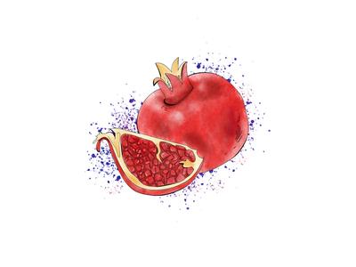 Watercolor pomegranate.