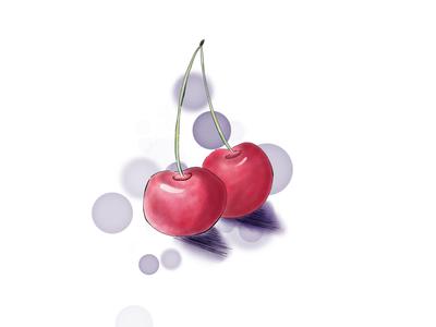 Watercolor cherries.