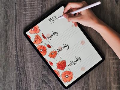 Watercolor poppy planner