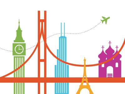 World Scape world travel icons london india chicago airplane city scape san francisco sears tower willis tower