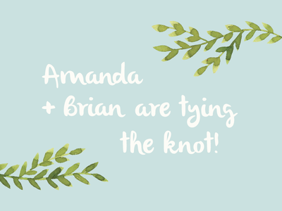 Amanda + Brian wedding leaves love announcement