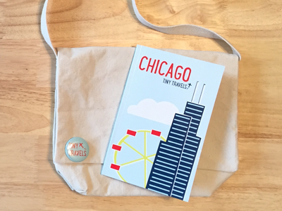 Chicago Tiny Travels book bag button kids children branding book cover travel guide