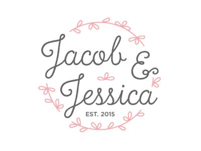 Jacob + Jessica wedding logo love emblem
