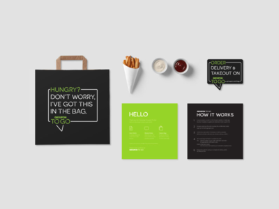 Groupon To Go Welcome Kit window sticker take out take away bag delivery neon groupon