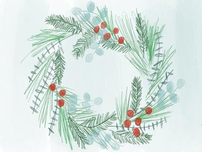 Holiday Wreath illustration wreath chrismtas holiday