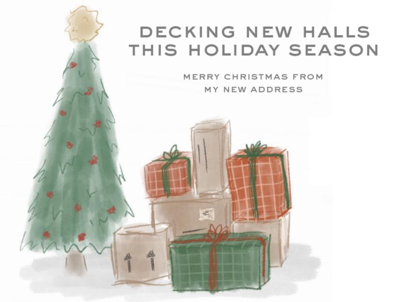 Holiday Change of Address Postcard christmas illustrations postcard moving holiday