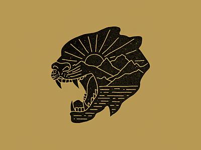 Panther mountains landscape panther tattoo vintage illustration