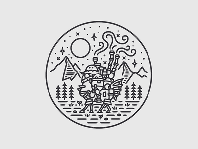 Howl's Moving Castle illustration mountains nature scenery monoline linework ghibli tshirt print merch