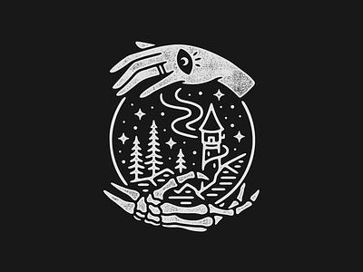Wizard Tower wizard nature monoline linework scenery illustration