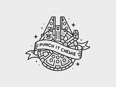 Punch It! tattoo print starwars monoline linework illustration