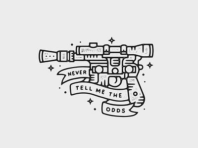 Blaster blaster tattoo print starwars monoline linework illustration