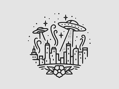 UFO Attack  alien tattoo print ufo monoline linework illustration