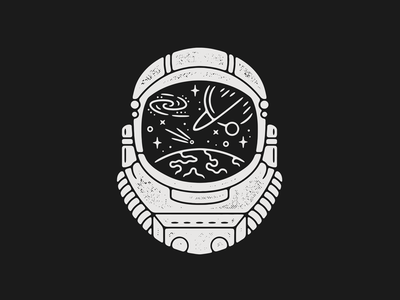 Astronaut space print astronaut monoline linework illustration