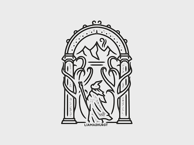 Doors of Durin lord of the rings gandalf print monoline linework illustration