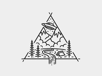 UFO Camp print monoline tattoo ufo linework illustration alien
