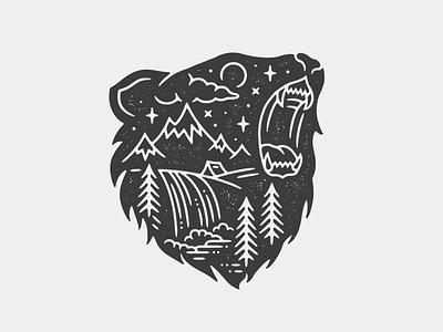 Bear Scene tattoo bear print monoline linework illustration