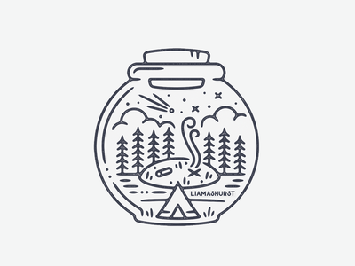 Camp Bowl camping tattoo print monoline linework illustration