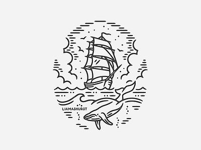 Venture whale ship tattoo print monoline linework illustration