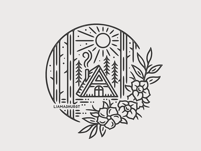 The Cabin cabin camping tattoo print monoline linework illustration