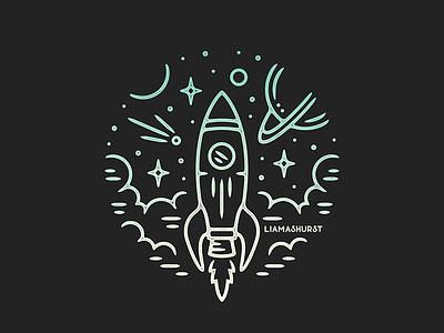 Rocket space rocket tattoo print monoline linework illustration