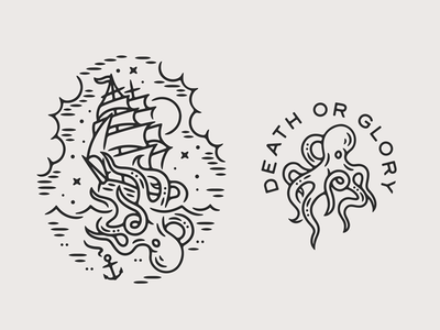 Kraken nautical kraken tattoo print monoline linework illustration