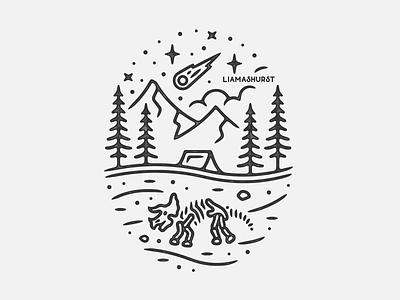 Dino Scene dinosaur tattoo monoline linework print illustration