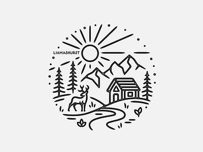 Spring Scene cabin print monoline linework illustration