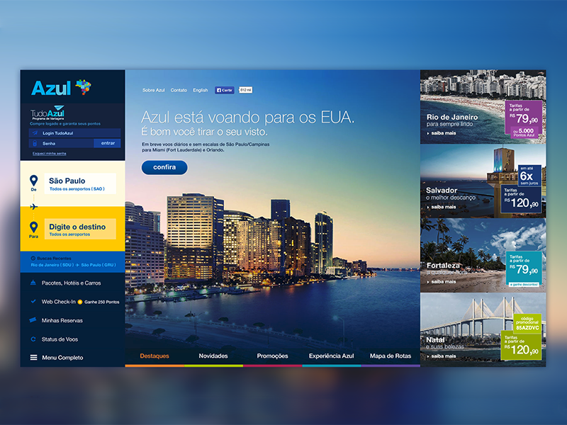 Azul Airlines new concept blue ux design ui design design web airlines
