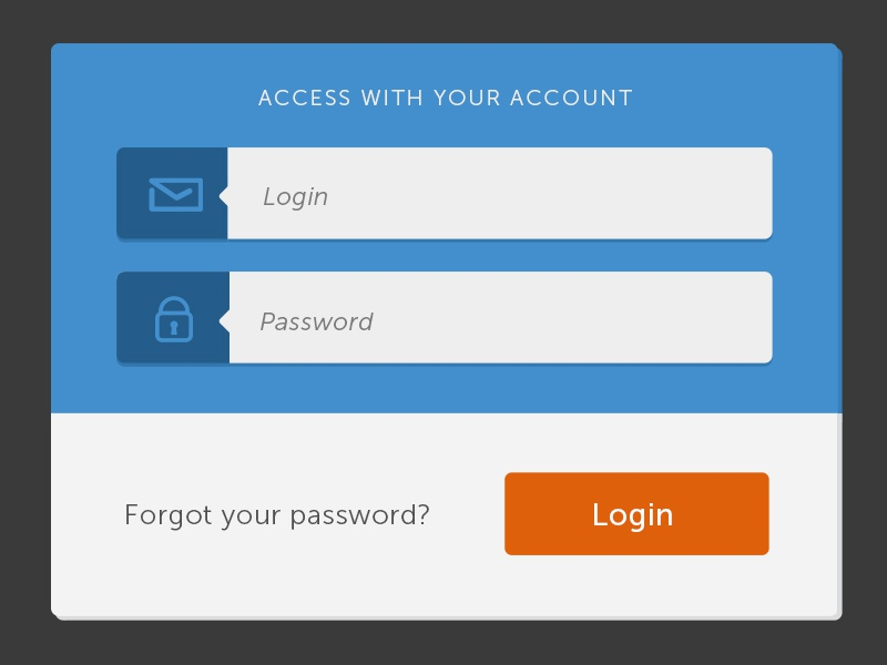 Login box web design gui ux ui landing page access account blue flat box login