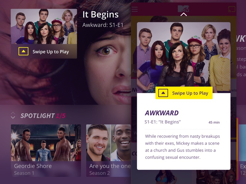 Preview Card for 2nd Screen purple tv tvos cast swipe ux mtv mobile second screen ui