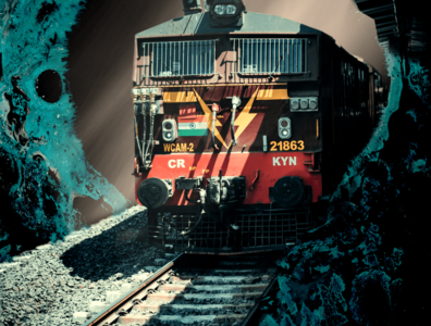 train out from the darkness imagine idea dark railway train composite creative edit loop coverart light designer composition branding illustration background manipulation illusion artwork design