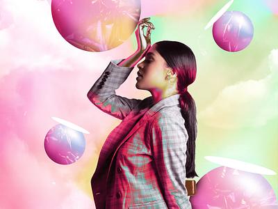 3D colorful balls design idea poster a day sitting editorial magazine art director 3d photo manipulation cover art poster light designer composition branding illustration background manipulation illusion artwork design