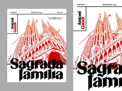 Sagrada familia niche type poster idea vector book cover modern portfolio poster series typographic poster typography ui editorial creative branding poster design cover art background illustration artwork