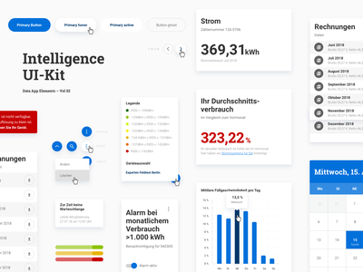 Intelligence UI-Kit #2 teaser uidesign userinterface legend hover list diagram button states button atomic design materialdesign uikit ui webdesign design