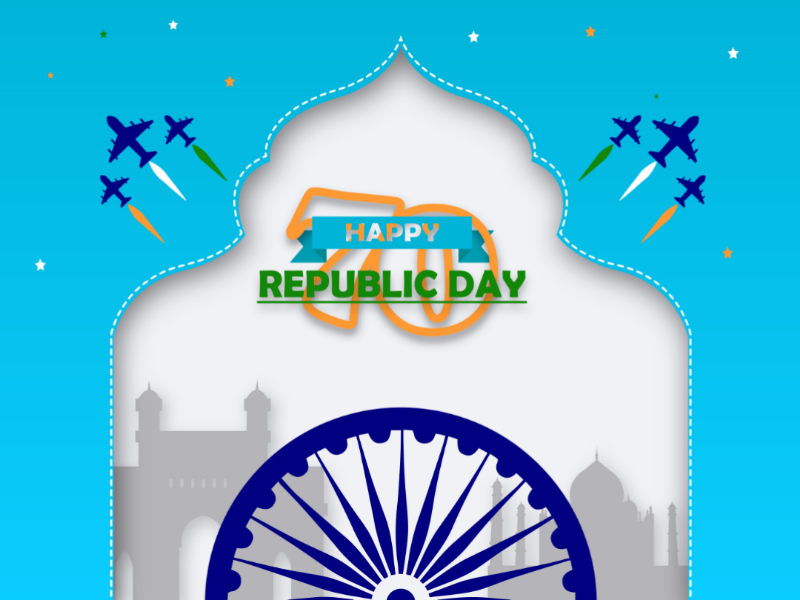 Republic day design adobe illustration indian gate taj mahal army india republic day